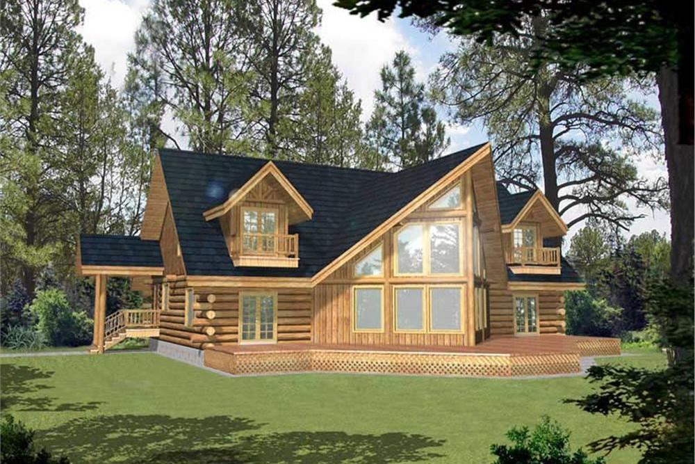 Color rendering of Log Cabin home plan (ThePlanCollection: House Plan #132-1400)