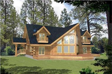 3-Bedroom, 3219 Sq Ft Log Cabin House Plan - 132-1400 - Front Exterior