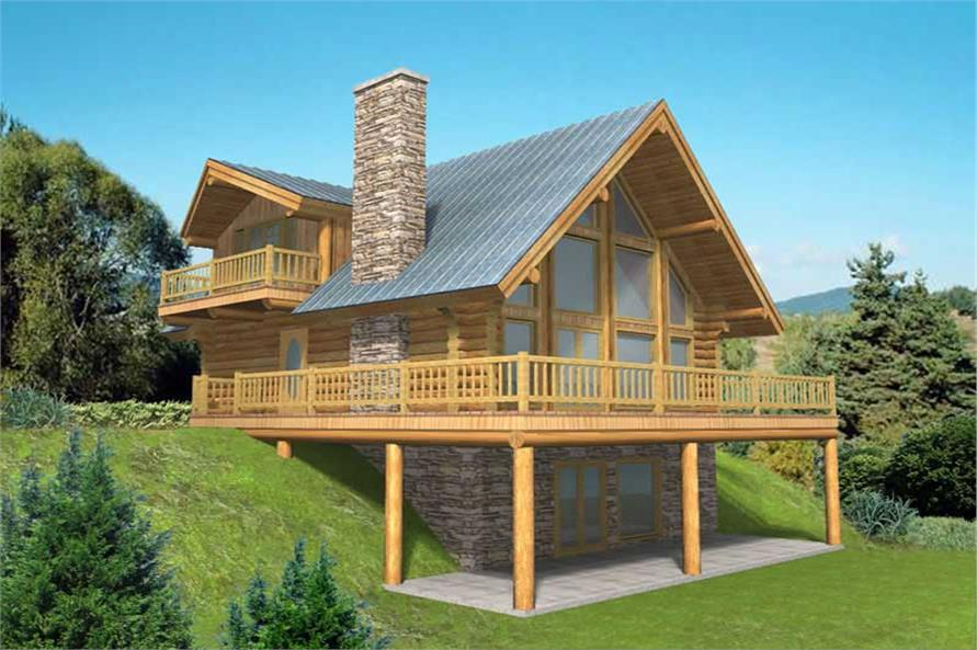 3-Bedroom, 2057 Sq Ft Log Cabin Home Plan - 132-1401 - Main Exterior