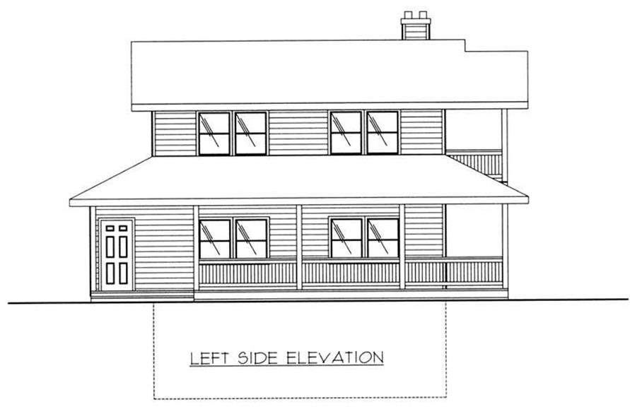 Home Plan Left Elevation of this 2-Bedroom,1526 Sq Ft Plan -132-1405