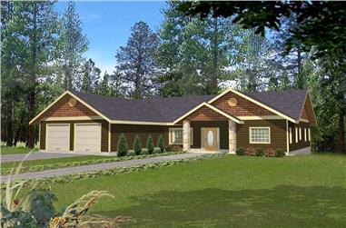 4-Bedroom, 4484 Sq Ft Ranch House Plan - 132-1409 - Front Exterior