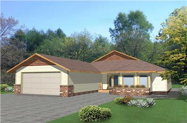 3-Bedroom, 1352 Sq Ft Ranch House Plan - 132-1412 - Front Exterior