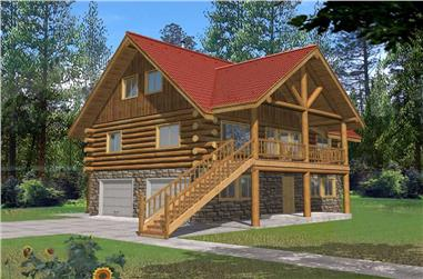 2-Bedroom, 1485 Sq Ft Log Cabin Home Plan - 132-1427 - Main Exterior