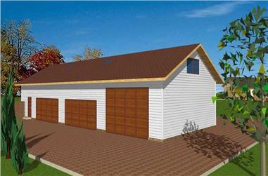 1-Bedroom, 3085 Sq Ft Garage House Plan - 132-1433 - Front Exterior