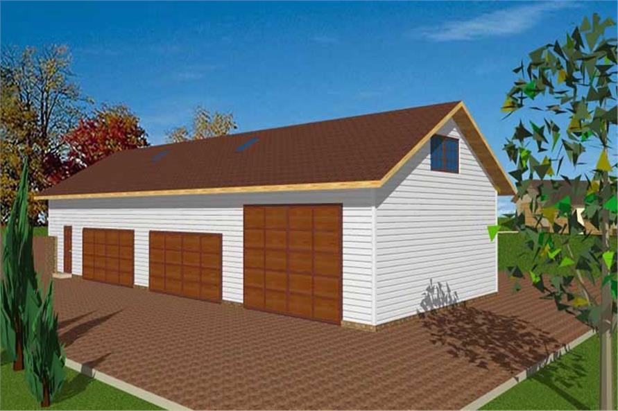 1-Bedroom, 3085 Sq Ft Garage House Plan - 132-1433 - Front Exterior