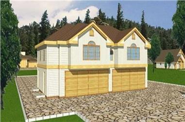 3-Bedroom, 1075 Sq Ft Garage House Plan - 132-1434 - Front Exterior