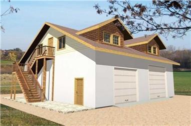 1-Bedroom, 2680 Sq Ft Garage House Plan - 132-1444 - Front Exterior