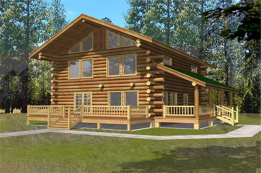 2-Bedroom, 1830 Sq Ft Log Cabin Home Plan - 132-1447 - Main Exterior