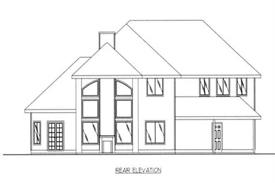 Home Plan Rear Elevation of this 3-Bedroom,3952 Sq Ft Plan -132-1453
