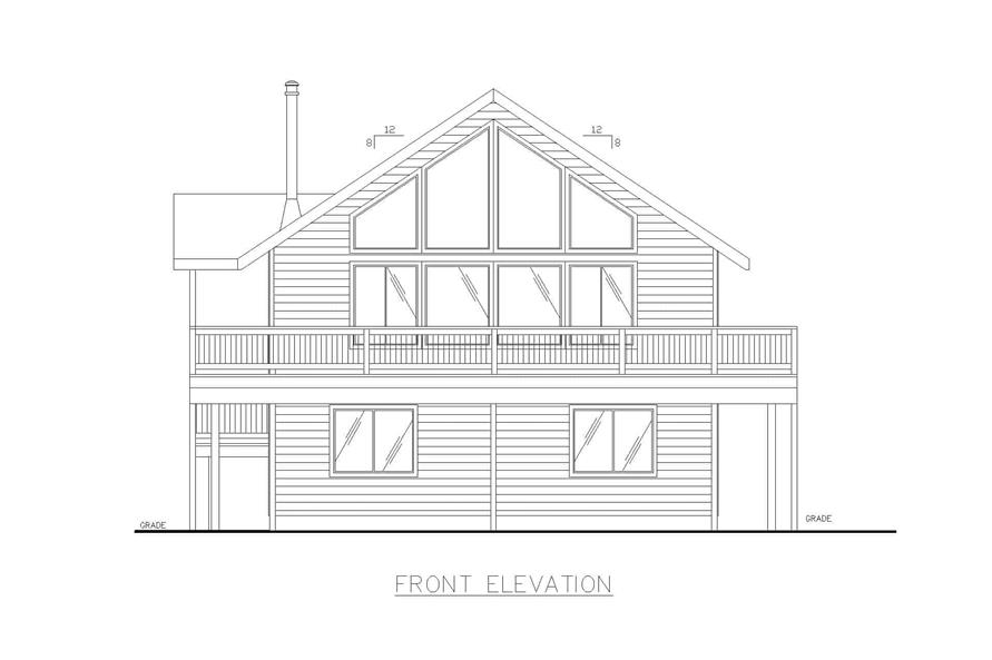 Home Plan Front Elevation of this 3-Bedroom,1232 Sq Ft Plan -132-1454