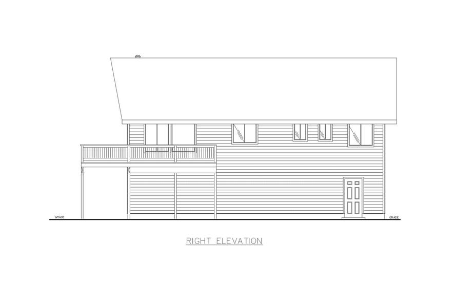 Home Plan Right Elevation of this 3-Bedroom,1232 Sq Ft Plan -132-1454