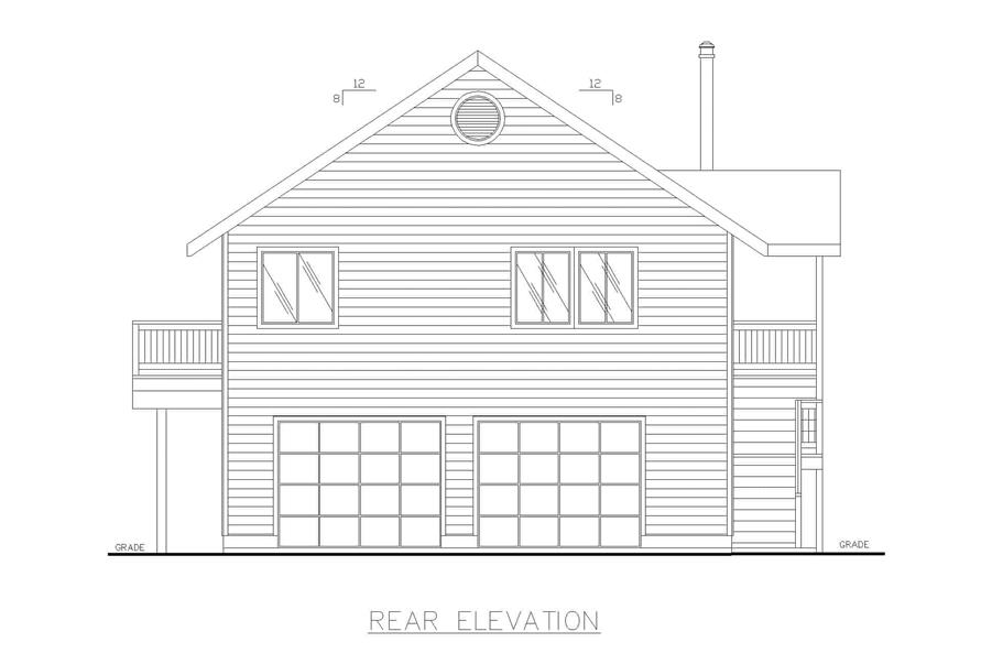 Home Plan Rear Elevation of this 3-Bedroom,1232 Sq Ft Plan -132-1454