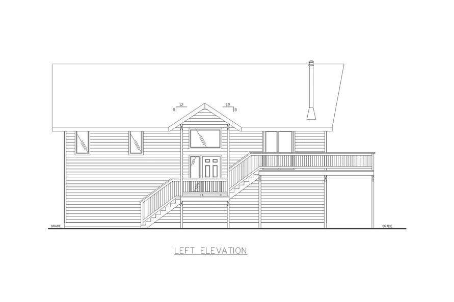 Home Plan Left Elevation of this 3-Bedroom,1232 Sq Ft Plan -132-1454
