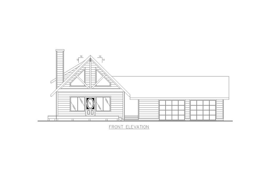 Home Plan Front Elevation of this 2-Bedroom,1600 Sq Ft Plan -132-1456