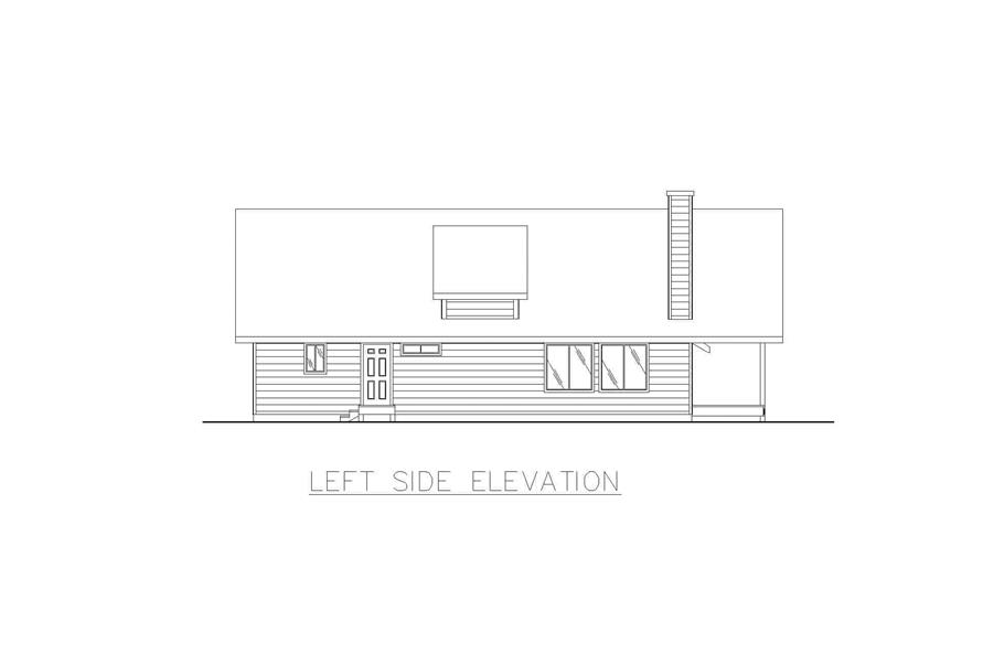 Home Plan Left Elevation of this 2-Bedroom,1600 Sq Ft Plan -132-1456