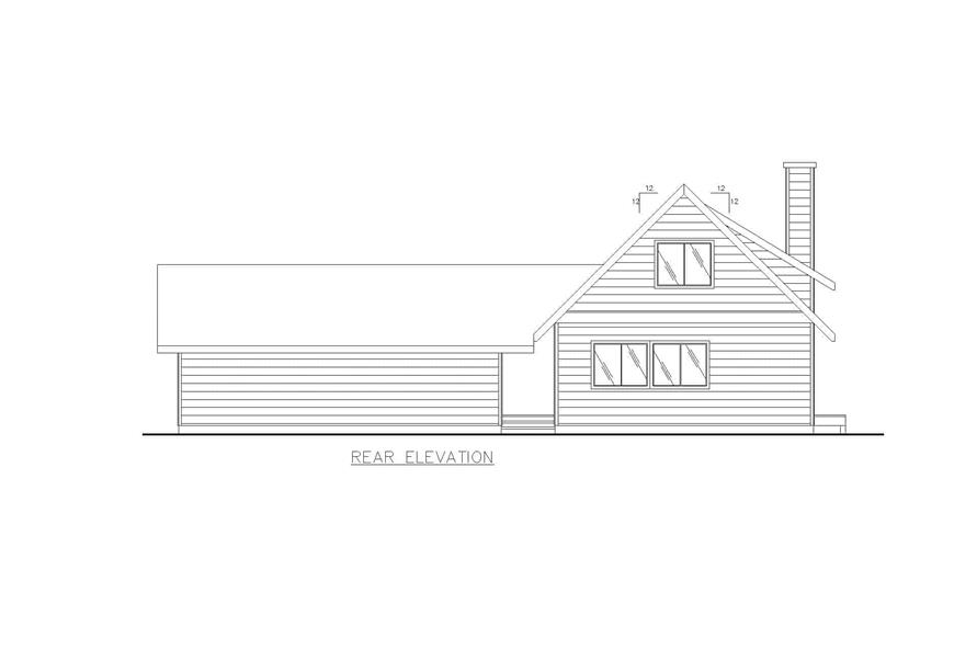 Home Plan Rear Elevation of this 2-Bedroom,1600 Sq Ft Plan -132-1456