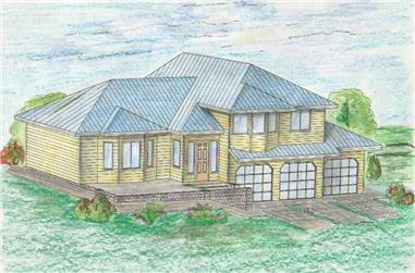 4-Bedroom, 3127 Sq Ft Contemporary Home Plan - 132-1462 - Main Exterior