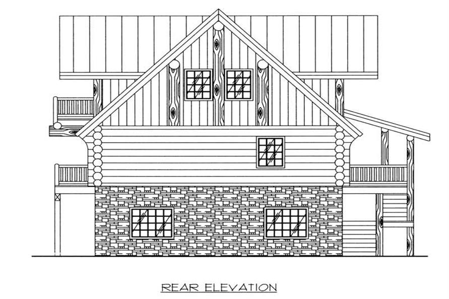 Home Plan Rear Elevation of this 4-Bedroom,3108 Sq Ft Plan -132-1463