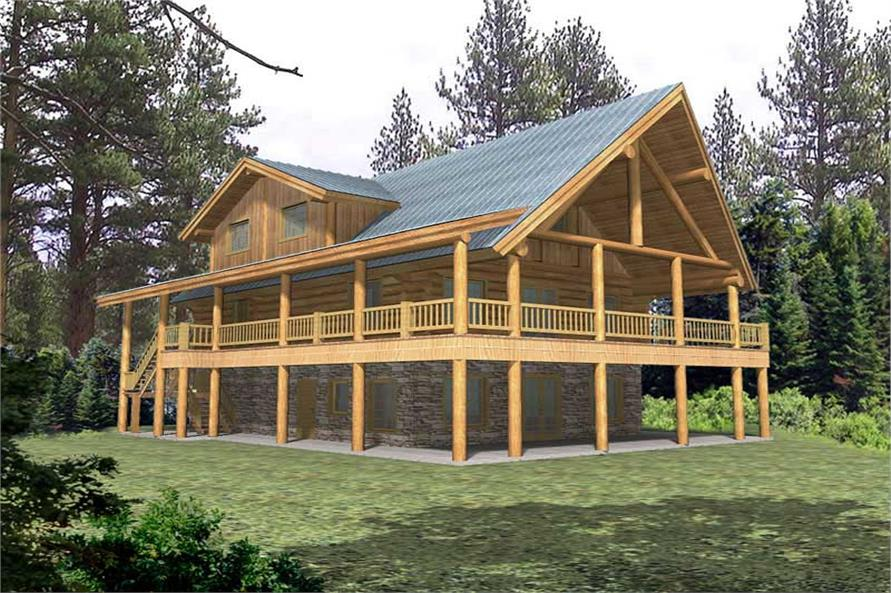 4-Bedroom, 3108 Sq Ft Log Cabin Home Plan - 132-1463 - Main Exterior