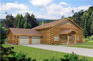 1-Bedroom, 3121 Sq Ft Log Cabin Home Plan - 132-1464 - Main Exterior