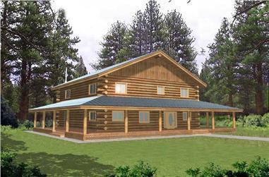 3-Bedroom, 2783 Sq Ft Log Cabin Home Plan - 132-1465 - Main Exterior