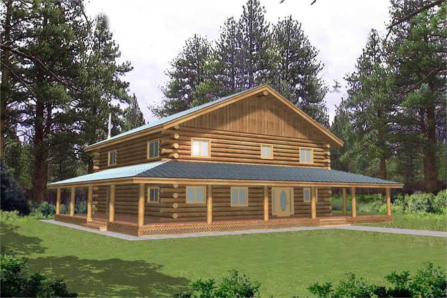Log Home Plans Front Elevation.