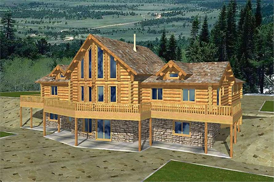 5-Bedroom, 2113 Sq Ft Log Cabin Home Plan - 132-1466 - Main Exterior