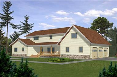 4-Bedroom, 3468 Sq Ft Contemporary Home Plan - 132-1468 - Main Exterior