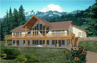 4-Bedroom, 5116 Sq Ft Log Cabin Home Plan - 132-1470 - Main Exterior