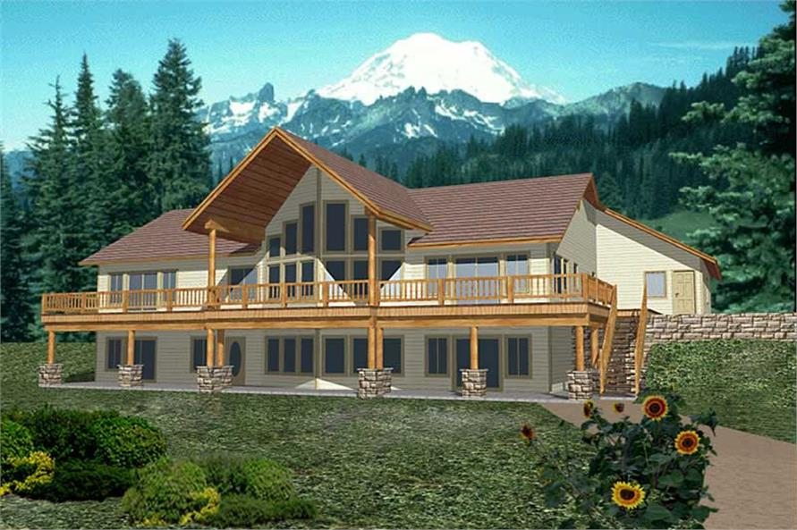 4-Bedroom, 5116 Sq Ft Log Cabin Home Plan - 132-1470 - Main Exterior