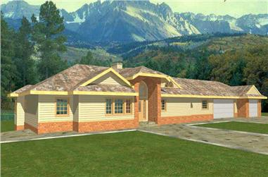 3-Bedroom, 3124 Sq Ft Ranch Home Plan - 132-1471 - Main Exterior
