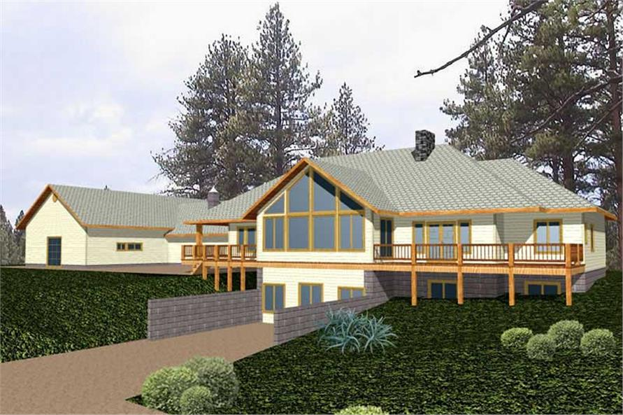 Front elevation of Ranch home (ThePlanCollection: House Plan #132-1473)