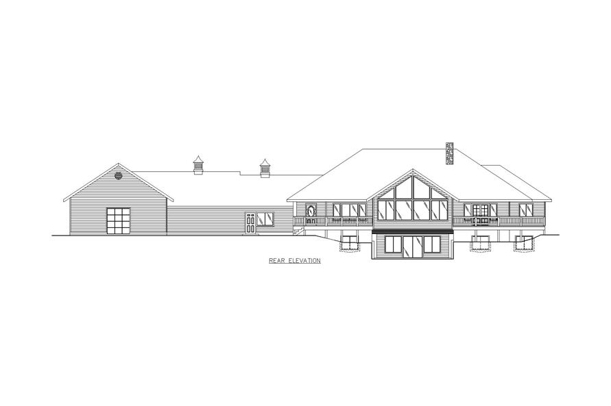 Home Plan Rear Elevation of this 5-Bedroom,5824 Sq Ft Plan -132-1473