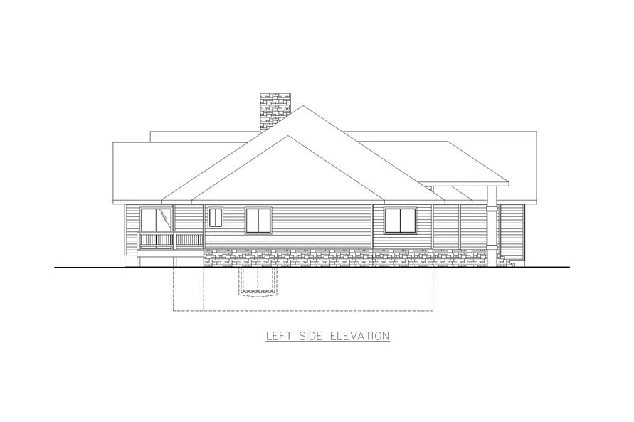 Home Plan Left Elevation of this 5-Bedroom,5824 Sq Ft Plan -132-1473