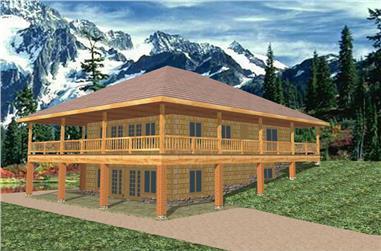 3-Bedroom, 2464 Sq Ft Log Cabin Home Plan - 132-1475 - Main Exterior