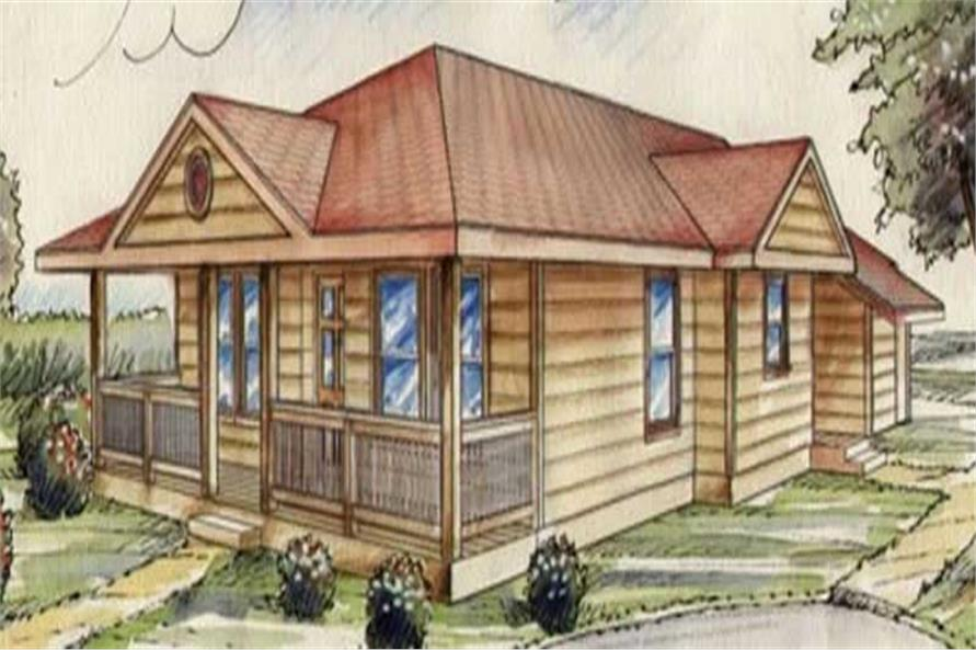 2-Bedroom, 970 Sq Ft Small House Plans - 132-1479 - Front Exterior