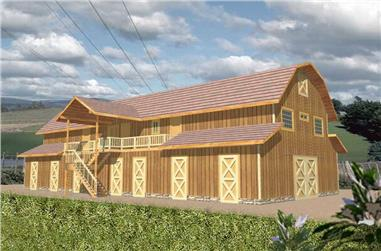 4-Bedroom, 5984 Sq Ft Farmhouse House Plan - 132-1480 - Front Exterior