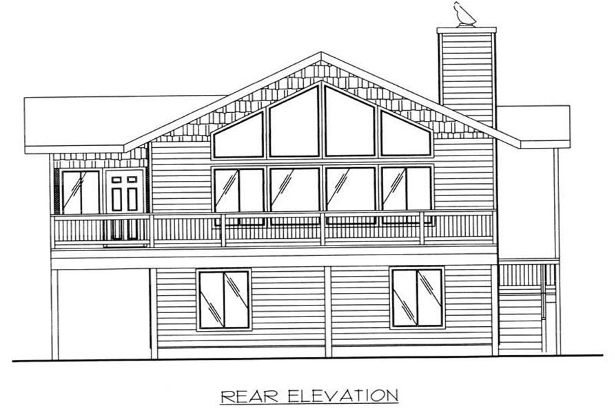 Home Plan Rear Elevation of this 3-Bedroom,1811 Sq Ft Plan -132-1481