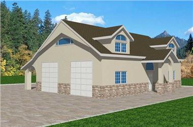 1-Bedroom, 550 Sq Ft Concrete Block/ ICF Design Home Plan - 132-1488 - Main Exterior