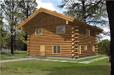 2-Bedroom, 1565 Sq Ft Log Cabin Home Plan - 132-1491 - Main Exterior