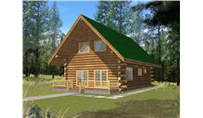 Log Home Design Front Elevation.
