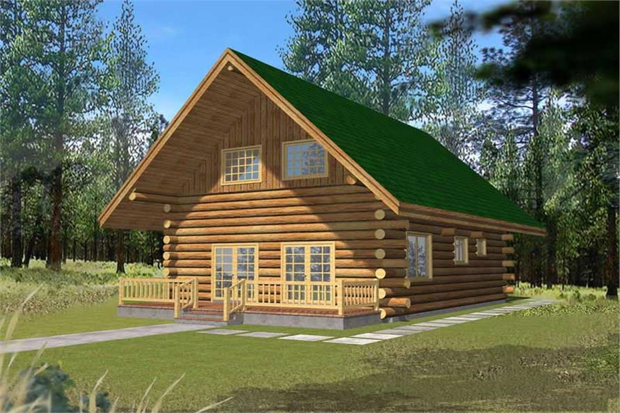 1-Bedroom, 1469 Sq Ft Log Cabin House Plan - 132-1492 - Front Exterior