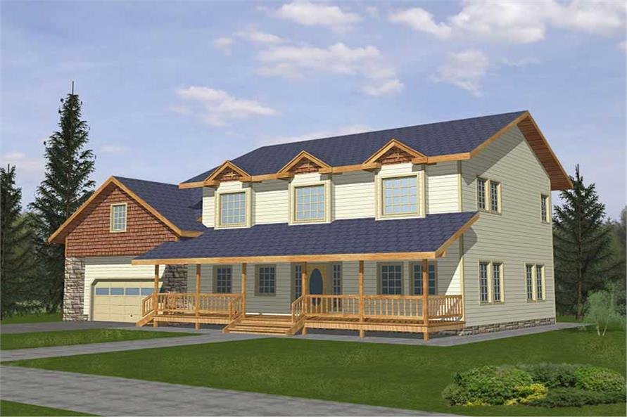4-Bedroom, 2059 Sq Ft Country Home Plan - 132-1494 - Main Exterior
