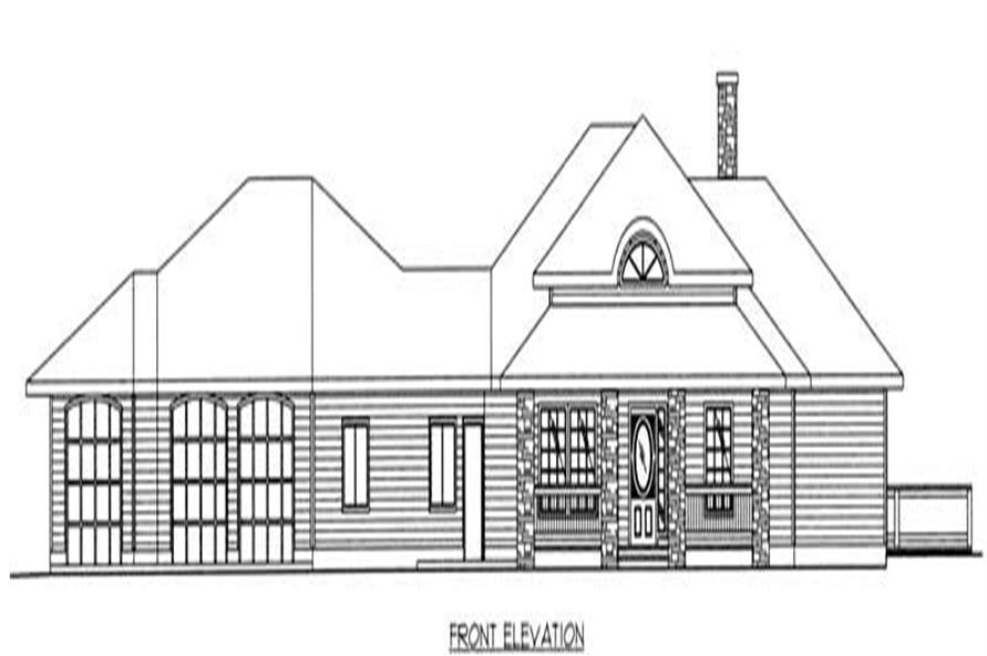Home Plan Front Elevation of this 3-Bedroom,2061 Sq Ft Plan -132-1499
