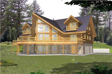 3-Bedroom, 3219 Sq Ft Log Cabin House Plan - 132-1503 - Front Exterior