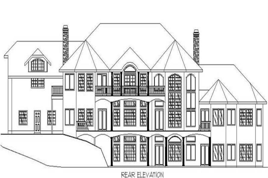 Home Plan Rear Elevation of this 6-Bedroom,8203 Sq Ft Plan -132-1504