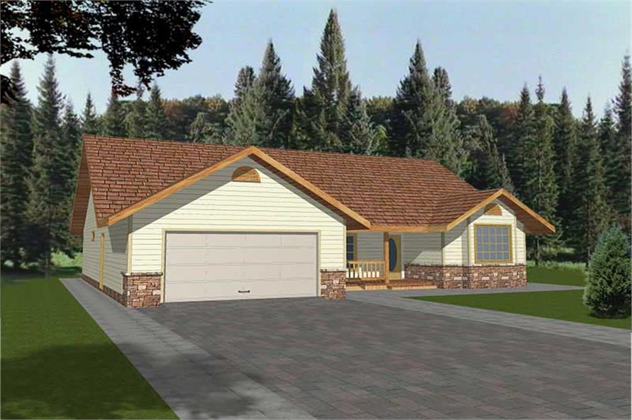 3-Bedroom, 1740 Sq Ft Contemporary Home Plan - 132-1509 - Main Exterior