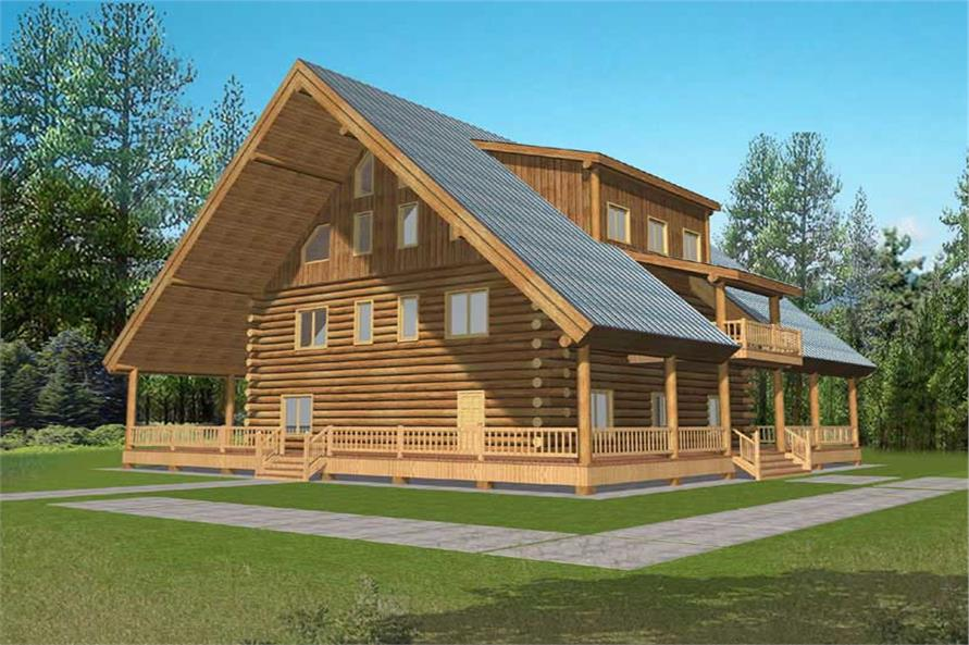 Log Cabins House Plans front elevation.