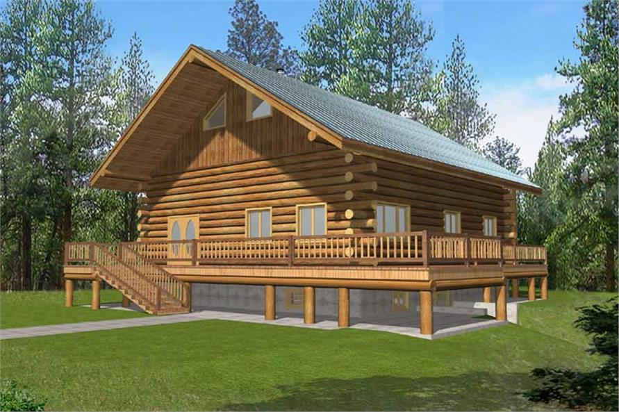 2-Bedroom, 3489 Sq Ft Log Cabin House Plan - 132-1519 - Front Exterior