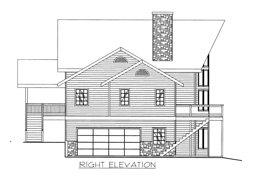 132-1523: Home Plan Right Elevation